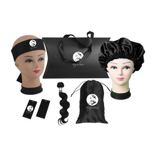 Luxury Custom Human women hair extensions bundles packaging sets,pillow box,headband,bonnet,wrap stickers,hang tag,satin bag