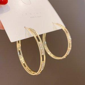 2020 regalo Pendientes oro nuevo de la manera plateó círculo grande redonda pendientes del aro brillante CZ Zircon Partido delicada muchacha de los pendientes de cristal