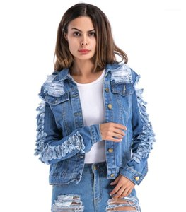 Denim Ceket Mengeneden Stil Delik Sahte Tek Breasted Coat Womens 2020 Lüks Tasarımcı Giyim Sonbahar bayanlar Designer Cepler