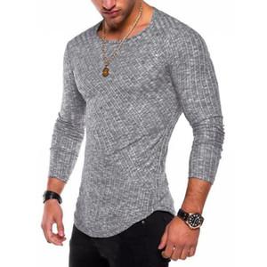 6 Couleurs 2020 Printemps Hommes manches longues T-shirt décontracté col rond rayé élastique Fit drôle Streetwear Tshirt solide Tops Hip Hop