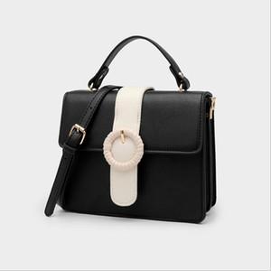 Frauenfarbe Kontrasthandtasche Umhängetasche Retro Messenger Bag Geldbörse Kupplungsbeutel
