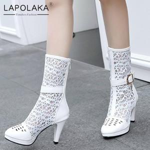 Lapolaka 2020 Hot Sale Plus Size 46 Platform Buckle Decoration Summer Boots Woman Shoes High Heels Zip Up Mid Calf Boots