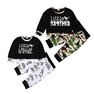 Baby Boy Clothes Dinosaur Little Brother Tops Pants 2pcs Sets Long Sleeve Girls Outfits Fashion Baby Clothing 2 Colors DW5852
