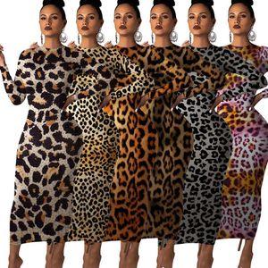 Mulheres Autumn Leopard Print Long Sleeve O Neck Bodycon fêmea Clube Hight Partido vestidos longos
