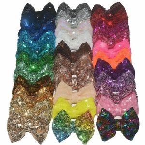 Kızlar 32colors için Timsah Clip olmadan 8 .5cm / 3 .35inches Payet Bow Diy Bantlar Aksesuarları Bebek Butik Saç Yaylar