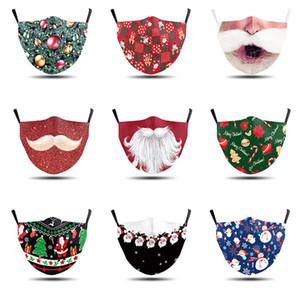 2020 Лицевые маски моды маски для взрослых Мультфильм моющийся рождественские печататься Санта борода маска маска PM2.5 пыли дымка может быть вставлена с фильтром