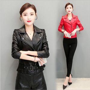 Spring Classical Slim Outwear Women Motocycle Autumn Leather Jacket Black White Turn-down Collar Female Baseball Leather Coat