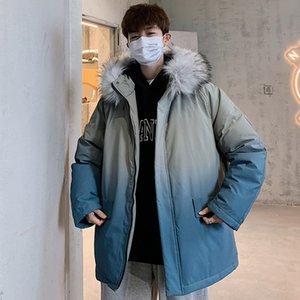 Новая мужская Белая утка вниз куртка теплая с капюшоном Толстые Puffer Jacket Men вниз пальто меховой воротник высокого качества Шинель Зимнем Parka мужчин