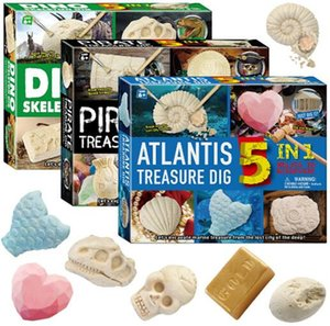 5in1 Atlantis and Dinosaur skeletons Excavation Kit Simulation Archaeology Digging Up Fossils Model Children Learning & Education toys gift