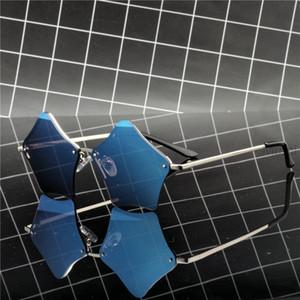 MINCL  Design Metal Frame Blue Mirror Women Sunglasses Vintage Cat Irregular Sun glasses Fashion Mirror Shades NX