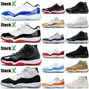 العلامة التجارية Basketballl أحذية 11S الأعلى Jumpman النساء 11 ولدت العليا كونكورد الأزرق منخفضة أورانج الغيبوبة الزيتون فاخر مصمم رجال الرياضة أحذية رياضية 5،5 حتي 13 O1