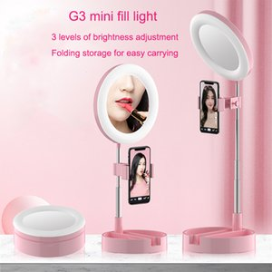 LED selfie ring foldable G3 fill light bracket dimmable camera phone 6.3inch ring lamp with phone holder for makeup video live studio