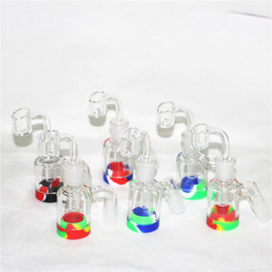 Glass Ash Catcher with 7ml Silicone Wax Jar for Glass Bongs Water Pipe Dab Rigs 14mm joint quartz bangers glass small bubblers