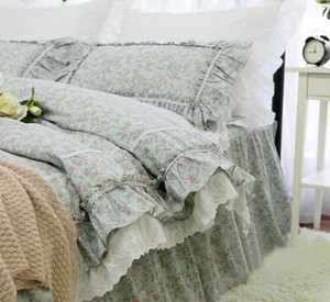 Pastoral flower bedding set girl,twin full queen king cotton rustic single double home textile bed dress pillow case quilt cover
