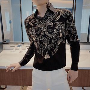 Luxury Gold Print Men Shirt Casual Slim Fit Long Sleeve Male Dress Shirt Club Party Vintage Tuxedo Camisa Social Masculina