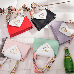 Children Silk Scarves Bags PU New Love Heart Handbag Kids Leather One Fashion Girls Shoulder A4244 Crossbody Qpsch