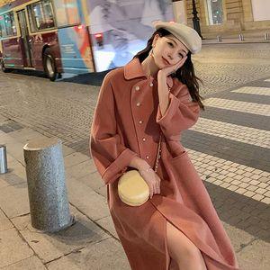 2020 New Korean Version Grade Double-Sided Woolen Coat Female In Long Wool Doll Collar Fashion Loose Elegant Woman Woolen jacket