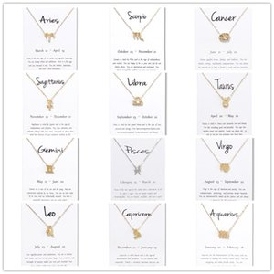 Wholesale New 12 Constellation Necklaces With White Gift Card Zodiac Sign Pendant Gold Chains For Men Women Sagittarius Fashion Jewelry