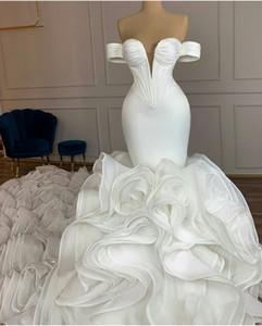 Splendida 2021 Mermaid Organza Abiti da sposa abiti con treno lungo fuori dalla spalla Tiered Ruffles robe de mariée