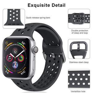 Silicone Replacement Iwatch Bands Silicone Strap For Apple Watch Series SE 6 5 4 3 2 1 38mm 40mm 42mm 44mm