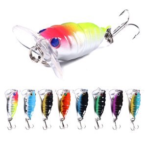 100pcs by ePacket Cicada hard Fishing lure Insect fishing tackle Crankbait Lure Bait 4CM 4.4G 8# hooks free shipping