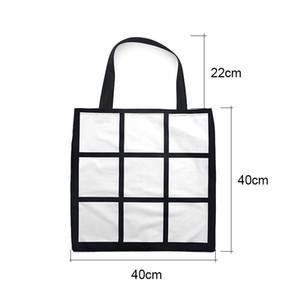 Sublimation Grid-Einkaufstasche Blank White DIY Wärmeübertragung Einkaufstasche 9 Platten Cloth frabic wiederverwendbarer Speichergeschenkbeutel Handtasche