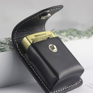 1Pc High Leather Cover Men Box Holde Windproof Zip Cigarette Lighter Gift Bag Small Box Case For Super