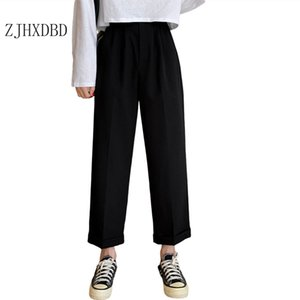 2020 Autumn European and American Women's Suit Ankle-length Pants Basic Casual Style Gray Mid-waist Trousers Women Lady Clothes