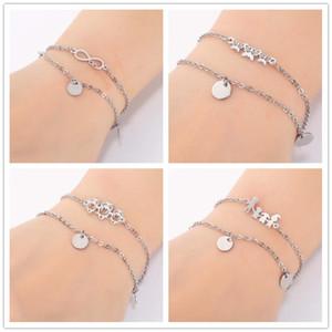 Oly2U Classic 8 Infinity Münze Einstellbare Hand Armbänder Edelstahl Zarte Triple Schmetterling Freundschaft Armbänder für Frauen