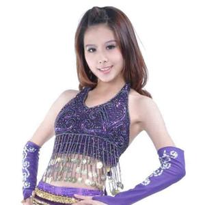 Подвесной Монеты Vest Современные Танец живота куртка ювелирных Bellydance костюм Фиолетовый танец живота белье Danse Orientale
