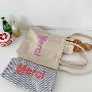 Frauen-Segeltuch-Schulter-Beutel Seestreifen Weibliche Baumwolltuch Umhängetaschen Gelegenheits Tote große Kapazitäts Bücher Handtasche für Mädchen
