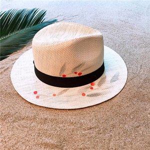 Fashion Women Handmade Paint Sun Hat Summer Straw Beach Panama Sun Hat Elegant Lady Queen Homburg Jazz