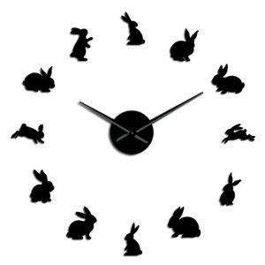 Clock Art Nursery Home Diy Wall Decor Kid Bunny Watch Room Easter Stickers Mirror Clock Rabbits Large Wall Frameless Wall uHGWn bdesports