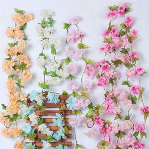 1pc Silk Pink Cherry Blossom Wall Hanging Garland 225cm Fake Vine Lvy Artificial Flower String Home Wedding Wreath Arch Decor