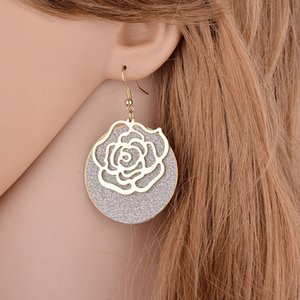 YADA Romantic rose flower Earrings Round Statement Earring gold color Circle For Women Geometric Jewelry Earrings femme ER200139