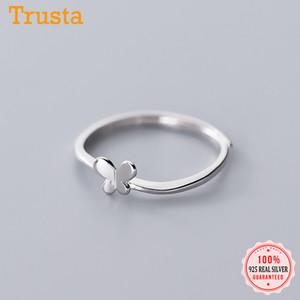 Trustdavis reale argento 925 Moda Dolce Insetto Farfalla aperto l'anello di barretta per le donne Nozze Belle S925 Jewelry DA1729