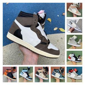 2020 JUMPMAN 1 Union Black Toe 1s Travis Scotts Mens Basketball Shoes Designer Satin Snake Mid Smoke Grey White UNC Chicago Fearless Sneaker
