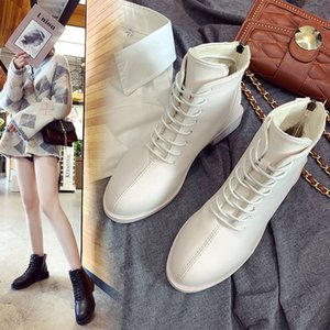 College Girls lace up riding boots women shoes warm plush solid ankle botas square toe chunky heels knight botines mujer 2020