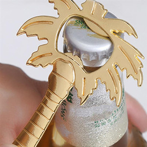 1Pc Bottle Opener Coconut Tree Shape Soda Glass Cap Beer Palm Breeze Bottle Opener For Wedding Kitchen Tool Silver Gold Color