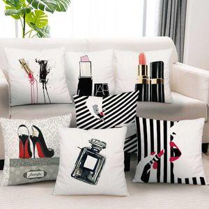 Silstar Tex Lipstick Throw Pillow Cushion Cover Perfume Bottles Peach Skin Pillowcase For Party Couch