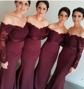 Elegant Long Sleeves Off The Shoulder Mermaid Burgundy Bridemaid Dresses Long 2020 African Appliqued Lace Prom Dress Wedding Party Gowns