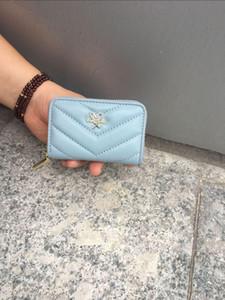 Luxurys Designers Bags 2020 New Style Rhombus Sheepskin Wallet Fashion Genuine Leather Womens Short Wallet Sheepskin Zip Wallet