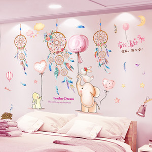 [shijuekongjian] Dreamcatcher Feathers Wall Sticker DIY Cartoon Animals Mural Decals for Kids Room Baby Bedroom Home Decoration