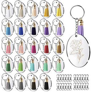 100Pcs Acryl Schlüsselanhänger Rohlinge mit Kreis Klar Keychain, Haken, Leder Quaste Anhänger Schlüsselanhänger für DIY und Gewerbe