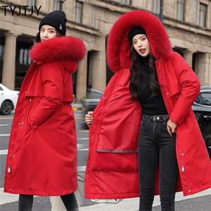 TYJTJY Winterjacke Frauen Mantel-Pelz-Kragen-langer Parka Mujer Lange Damen Puffer Mantel Frauen-elegante Casaco Feminino Parka Outwear