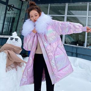 SINGRAIN lucido di modo donne Down Jacket coreano allentato oversize Giù cappotto invernale 2020 spessore caldo Ultra White Light Anatra Outwear
