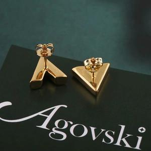 Großhandel Art und Weise earings hochwertige Galvanik Ohrringe goldene Ohrringe Frauen Männer Bolzen v Brief Ohrringe Schmuck Kein Verblassen