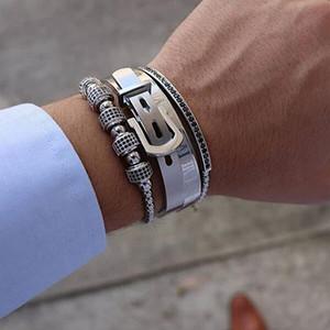 Men bracelet 4pcs Set Hot Titanium Steel Roman Numeral Bracelet Horseshoe Buckle Bangles Pulseira Bileklik Luxury Handmade J Y200810