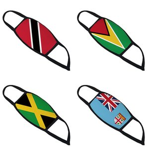 3D printed wind Trinidad Guyana Jamaica Fiji Flag and dust respirator designer face mask cross-border breathable face masks GWF1894