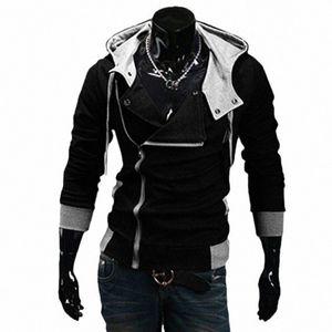 Gros- 2016 Fashion Sweat Hoodies Zipper Cardigan Survêtement Casual Veste à capuche moleton Assassins Creed Toison mince manteau jbxB #
